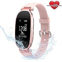 Mujeres Pulsera Deportiva Inteligente de Actividades Fitness Tracker Impermeable IP67 Monitor de Pulso Cardiaco Bluetooth con Contador de Calorias y Pasos/Monitor de Sueño/Reloj para iOS y Android
