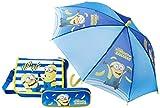 Fabtastics Unisex Minions 3-er Set Tasche + Regenschirm + Mappe , Blau (Blau Blau), One size