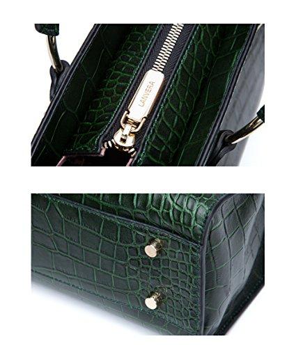 Yvonnelee delle donne di modo del sacchetto di cuoio della borsa spalla dell'unità di elaborazione borsa a tracolla pelle Shopper elegant Borse Verde