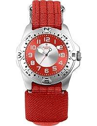 Alpha Saphir 112M - Reloj analógico de caballero de cuarzo con correa textil roja - sumergible a 100 metros