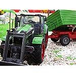 Brigamo 1235 - Ferngesteuerter Traktor mit Anhänger, 65 cm Länge, Radlader RC Trecker inkl. Fernsteuerung