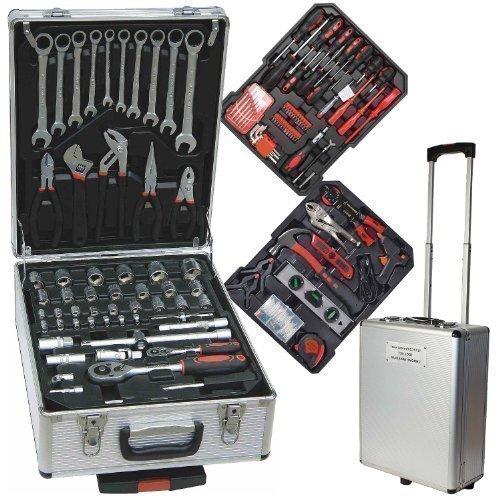 187 TLG Werkzeugkoffer Werkzeugkiste im Alukoffer mit Trolleyfunktion - Chrom Vanadium - mit Ratschenschlüssel