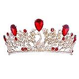 MagiDeal Couronne Strass Rouge Diadème Princesse Doré Bijoux Luxueux Cheveux Mariage - Paon