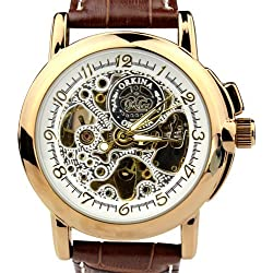 Orkina Mens Gold Case Transparent Dial Mechanical Leather Strap Wrist Watch Mens MG015LGBN