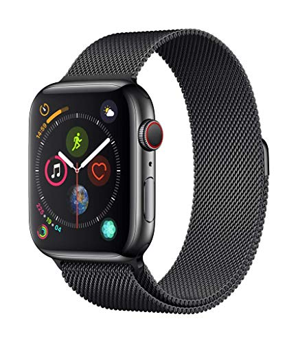 applewatch series4 (gps + cellular) cassa 44mm in acciaio inossidabile nero siderale eloop in maglia milanese nero siderale