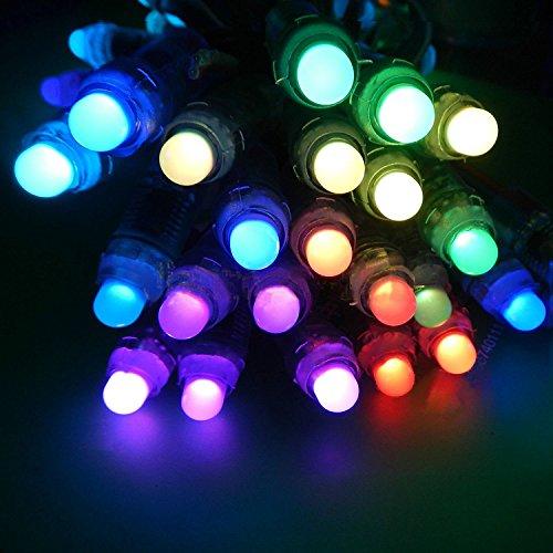 WS2801 Pixel Cadena de LED, 50PCS WS2801 12mm A Todo Color Direccionable Individualmente RGB LED Cuerda LED DC 5V IP67 impermeable