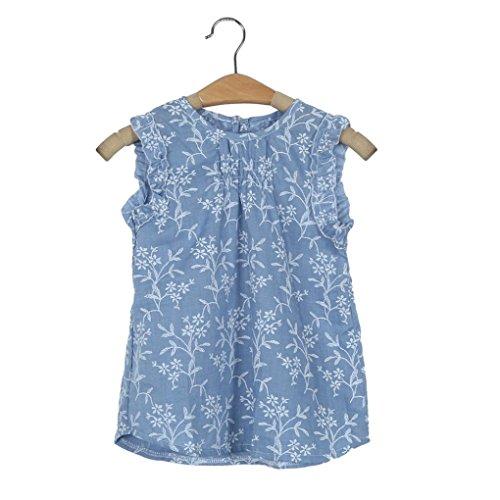 Estate bambino ragazza dei capretti floreale senza maniche principessa della maglia della camicia (130, (Floreale Vestito Lungo Dal Manicotto Camicia)