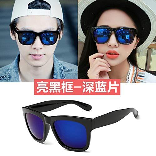 Sonnenbrille Damenmode Gezeiten Brille rundes Gesicht Quadrat großer Rahmen wildes Paar Sonnenbrille Herren heller schwarzer Rahmen schwarz graues Stück neuer, heller schwarzer Rahmen - dunkelblauer