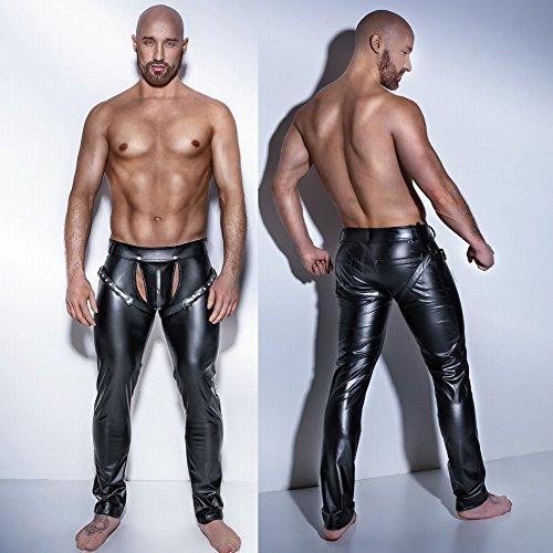GRONG Western-Stil Männer Lieben Unterwäsche Hosen, Nachtclub Bühne Performance Lackleder Lange (Kostüm Piece Suit Leather One)