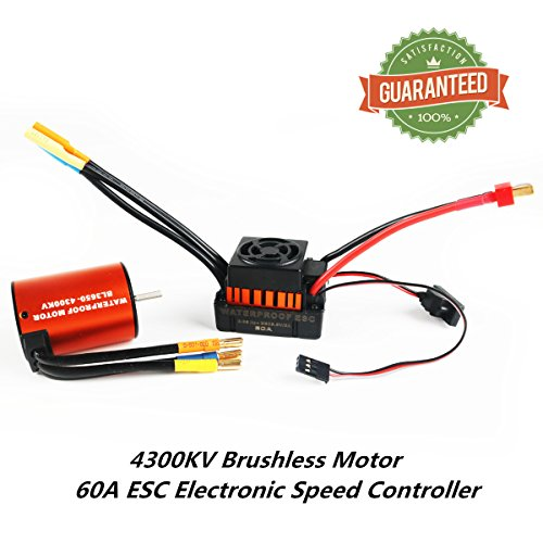 Crazepony-UK 3650 4300KV Brushless Motor Combo with 60A ESC Electronic Speed Controller Waterproof Combo Set Shaft 3.175MM for 1/10 RC Car Truck