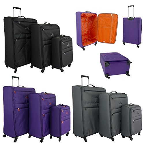 Super Lightweight World lightest 4 wheel Suitcase,Trolley, Spinner Cases, 360 degree Luggage (3 Piece Set (31.27.21″), Black)
