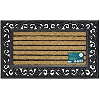 JVL Karina Heavy Duty Rubber Coir Door Mat, Fabric, Brown, 45 x 75 cm