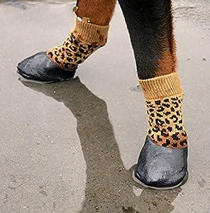 LA VIE 4 pcs Chaussettes Coton à Revêtement en Caoutchouc Etanche Anti-dérapant Chaussures Chaussons Protection Contre Neige Pluie Convient aux Tous Les Temps pour Chien Chiot 4 Tailles Disponibles