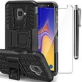 AROYI Funda Samsung Galaxy J4 Plus + Protector de Pantalla, Galaxy J6 Plus 2 en 1 Duro PC Funda y Soft TPU Cáscara de Cubierta Protectora de Doble Funda Caso para Samsung Galaxy J4 + /J6 + Negro