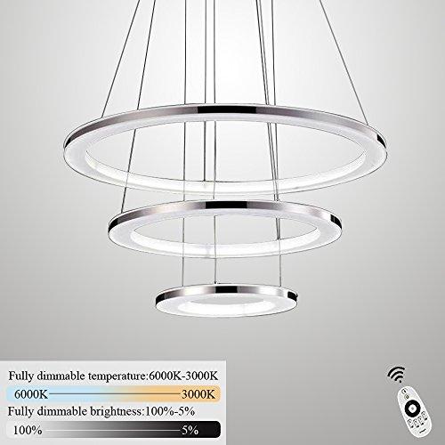 ZMH Moderne LED Pendelleuchte esstisch 96W Led 3-Ring led dimmbar Fernbedienung Hängeleuchte Wohnzimmer Deckenleuchte Schlafzimmer Höhenverstehbar Hängelampe Kronleuchter (30+50+70CM-3Ring)