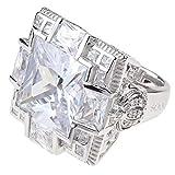 Pompöös Harald Glöckler Ring für Frauen Silber 925 rhodiniert Zirkonia weiß königlich Geschenk Gr. 56