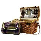 Weiden Picknickkorb 'Hampton' für 2 Personen Mit Wasserdichter Picknick Decke - Geschenkidee zum Geburtstag, Jahrestag, Hochzeit, Ruhestand