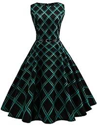 Damen Kleider, Sunday Damen Elegantes 50s Retro Vintage Ärmellos Rockabilly  Partykleider Cocktailkleider Vintage Plaid Bodycon be42ea52da