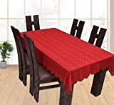#6: CASA FURNISHING Dining Table Cover Maroon Cloth Net For 6 Seater 60*90 Inches