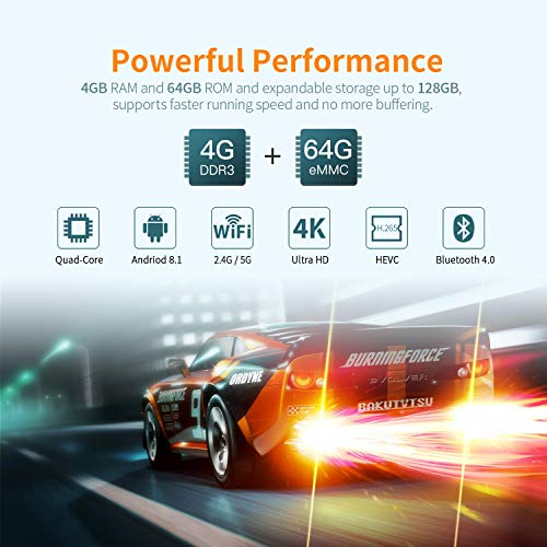 Android 8.1 TV Box-  Bqeel TV Box 4GB+64GB RK3328 Quad- Core 64bit Cortex- A53 con Dual- WiFi 2.4GHz/5GHz,  BT 4.0,  4K*2K UHD H.265,  HDMI,  USB 3.0 Smart TV Box