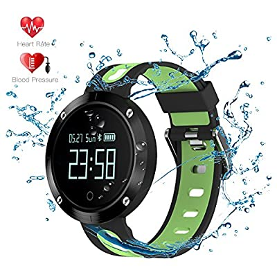 Waterproof Smart Watches Fitness Tracker - Evershop OLED-Screen Activity Tracker with Blood Pressure Monitor Heart Rate Monitor Sleep Tracker Pedometer for iOS and Android(Black-Green) by Evershop