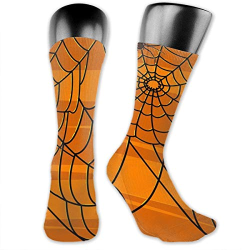 HiExotic Strümpfe Breathable Halloween Spider Web Pumpkin Color High Ankle Stockings Breathable Exotic Psychedelic Print Compression Elastic Socks Men Women