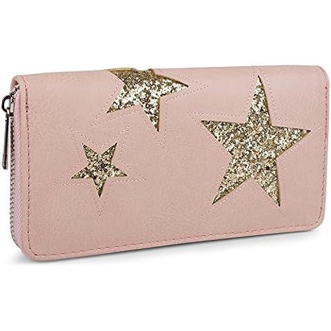 styleBREAKER monedero con motivo de estrellas recortadas y lentejuelas, cremallera circular, mujeres 02040046