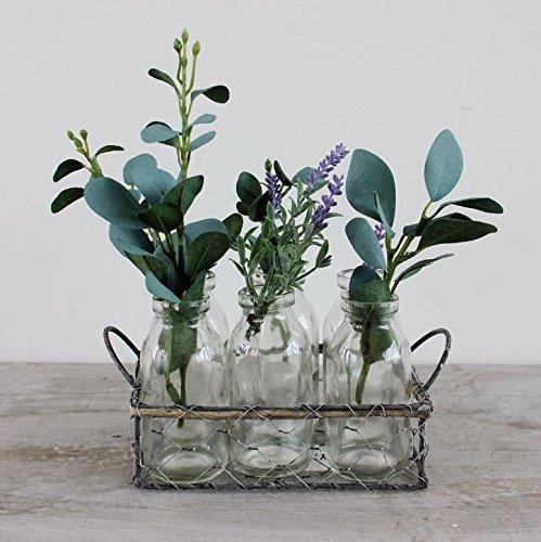 Cesta de alambre–caja con 6botellas de cristal Shabby Vintage boda de estilo mesa centro de mesa o florero