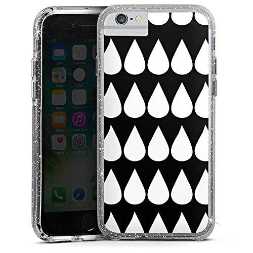 Apple iPhone 7 Bumper Hülle Bumper Case Glitzer Hülle Schwarz Weiss Black White Tropfen Bumper Case Glitzer silber