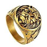Blisfille Joyería Anillos Hombre Rock Anillos Hombre Acero Inoxidable Anillo de Cabeza de León Anillos Hombre Oro Talla 22