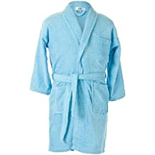 ALBORNOZ INFANTIL azul. Rizo Algodón 100%. Cuello tipo smoking. Color Azul.