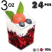 Mini tazas de postre, 24 piezas/set elegante, cilindro transparente slanted Mini postre aperitivo taza 2,5oz plástico/muestra vasos de chupito parfait vaso de jello / vaso de jello