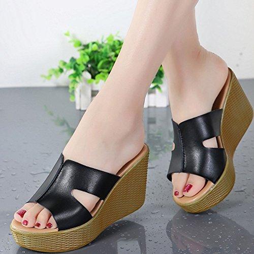 Confortable Sandales Pente d'été féminin avec pantoufles en H de style extérieur Chaussons à chaussures à talons hauts Sandales imperméables épais (3 couleurs en option) (taille facultative) Augmenté  B