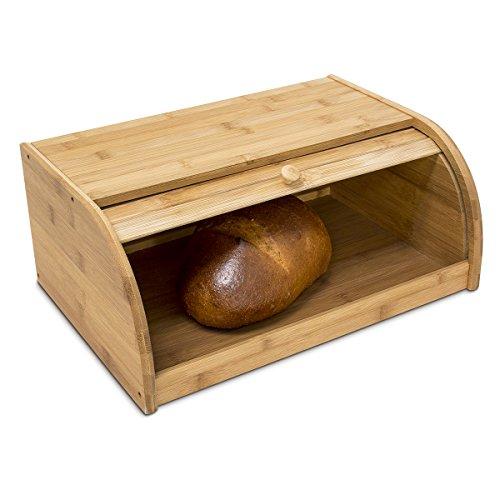 Relaxdays 10016656  Boîte à Pain HxlxP : 16,5 x 40 x 27,5 cm cuisine en bois de Bambou avec Couvercle Coulissant caisse garde pain, nature