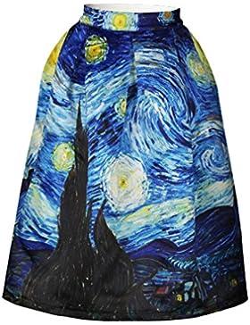 Jiayiqi Cintura Elástica Alta Llamarada De Las Mujeres Plisado Falda Vestido Midi