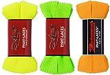 2Stoned Bundle Original PHAT Laces, Flache breite Schnürsenkel Neongelb-Neongrün-Orange
