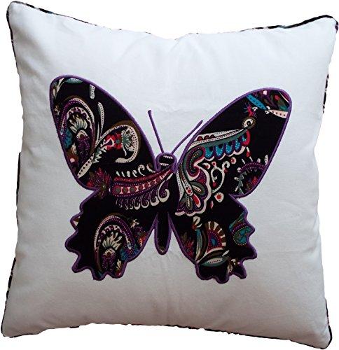hometale Schmetterling-Applikation mit Rohrleitungen dekorativer Überwurf-Kissenbezug 45,7cm weiß schwarz -