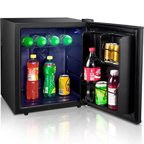Syntrox Germany 46 Liter geräuscharmer Edelstahl Mini Getränke Kühlschrank leiser Hotelkühlschrank