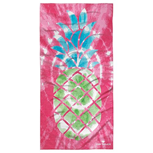 Tom Tailor Velour Strandtuch Ananas, 85 x 160 cm, pink, Größe Frottee:Strandtuch 85 x 160 cm