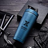 PLC020 - Shaker proteico in Acciaio Inox, 700 ml, per Fitness e Fitness, con Sfera, Double Wall-Blau, 700 ml