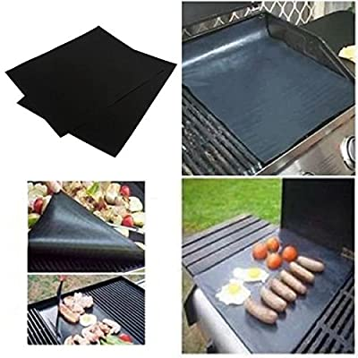 Alcoa Prime 2pcs/set BBQ grill mat for barbecue grill sheet cooking and baking and microwave oven use black promotion Brand New