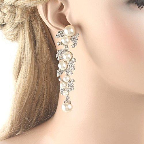 EVER FAITH® österreichisches Kristall künstliche Perlen Elegant Schön Blätter Braut Ohranhänger Ohrring Modeschmuck Silber-Ton A08831-1 - 2