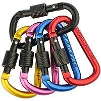 ZENDY alluminio blocco clip di D-ring moschettone bloccaggio a molla portachiavi clip della serratura moschettone attrezzature da campeggio all'aperto (Pacchetto5)