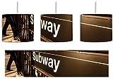 Londoner U-Bahn Subway inkl. Lampenfassung E27, Lampe mit Motivdruck, tolle Deckenlampe, Hängelampe, Pendelleuchte - Durchmesser 30cm - Dekoration mit Licht ideal für Wohnzimmer, Kinderzimmer, Schlafzimmer