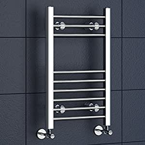 iBathUK | 650 x 400 Straight Heated Towel Rail Chrome Bathroom Radiator - All Sizes