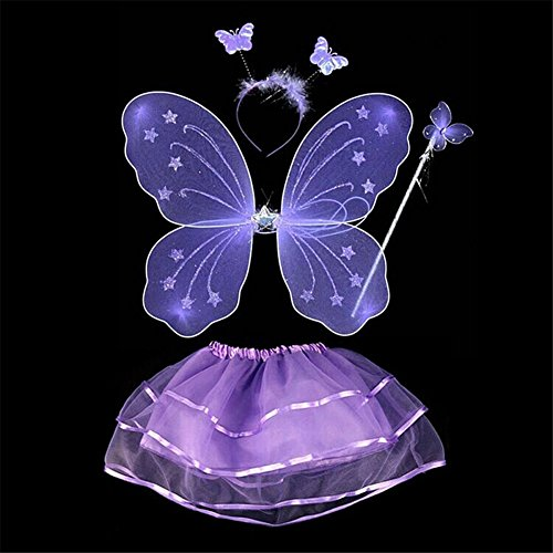 ESHOO Kinder Mädchen Partei Kostüm Fee Schmetterling Flügel Wand Stirnband Rock 4Pcs / Set