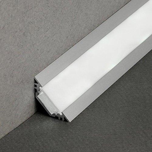 Schienen-beleuchtung (LED Profil TRIO-T ALU 2m eloxiert + weisse Blende, Set für indirekte Beleuchtung)