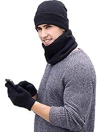 tuopuda Gorro Bufanda Guantes Set de Invierno para Hombre y Mujer Gorro de  punto Bufandas Caliente 586fd38f21f7