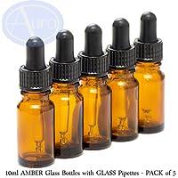 Preisvergleich für 5er-PACKUNG - 10ml BRAUNGLAS-Flaschen mit GLAS-Pipetten. Ätherisches Öl / Verwendung in Aromatherapie