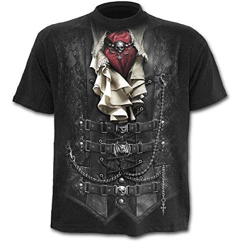 Waisted, gothic fantasy metal steampunk mannen T-shirt zwart, Negro, Large